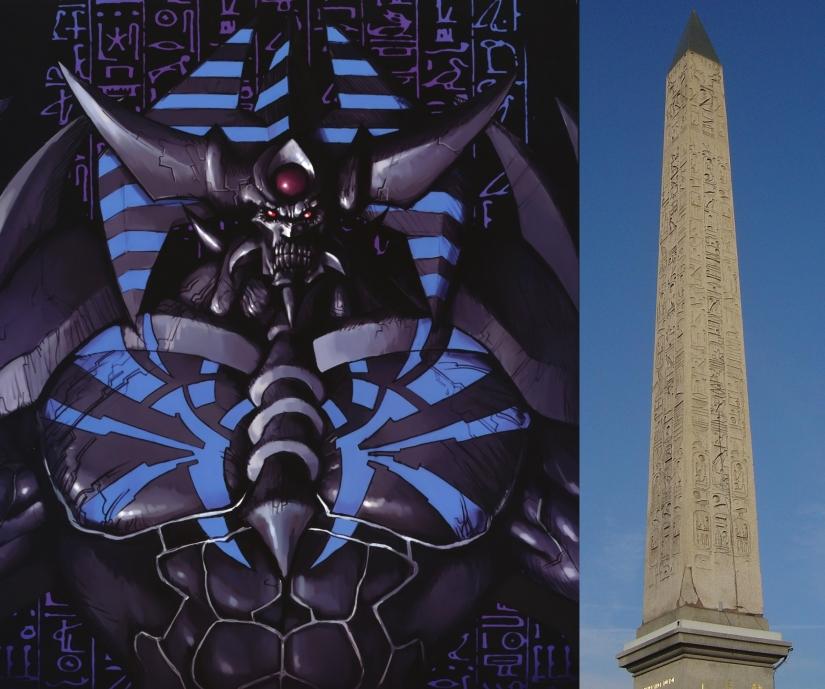 A gauche : le Soldat géant de l'Obélisque. A droite : l'obélisque de Louxor (Place de la Concorde, Paris).